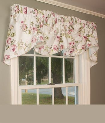 Simply Roses Lined Tailored Valance Austrian Valance Rod Pocket