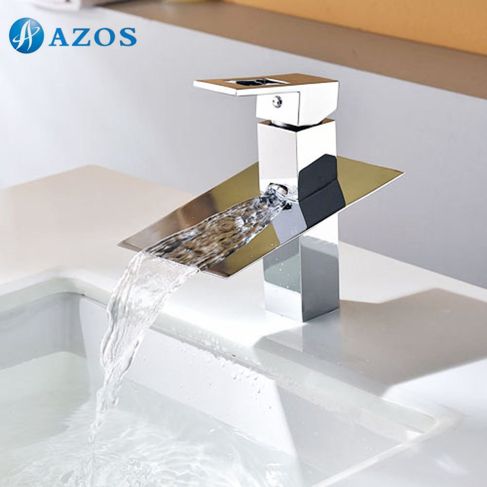 Bathroom Sink Taps Chrome Polish Waterfall Spout Deck Mounted