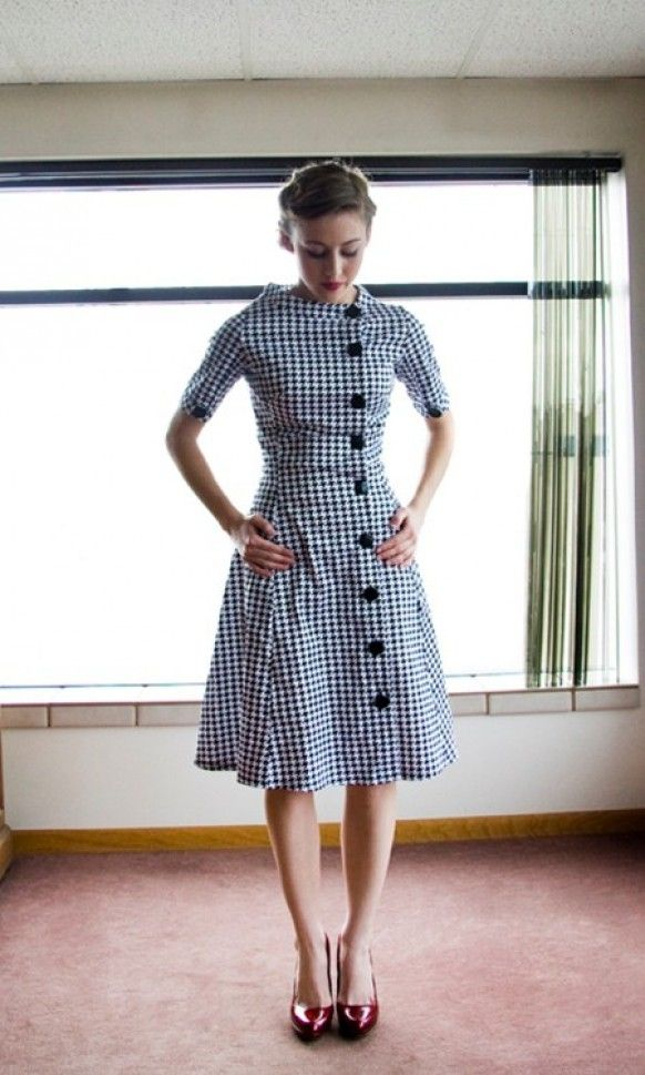 1a2c4b89bc4 Shabby Apple black and white houndstooth dress