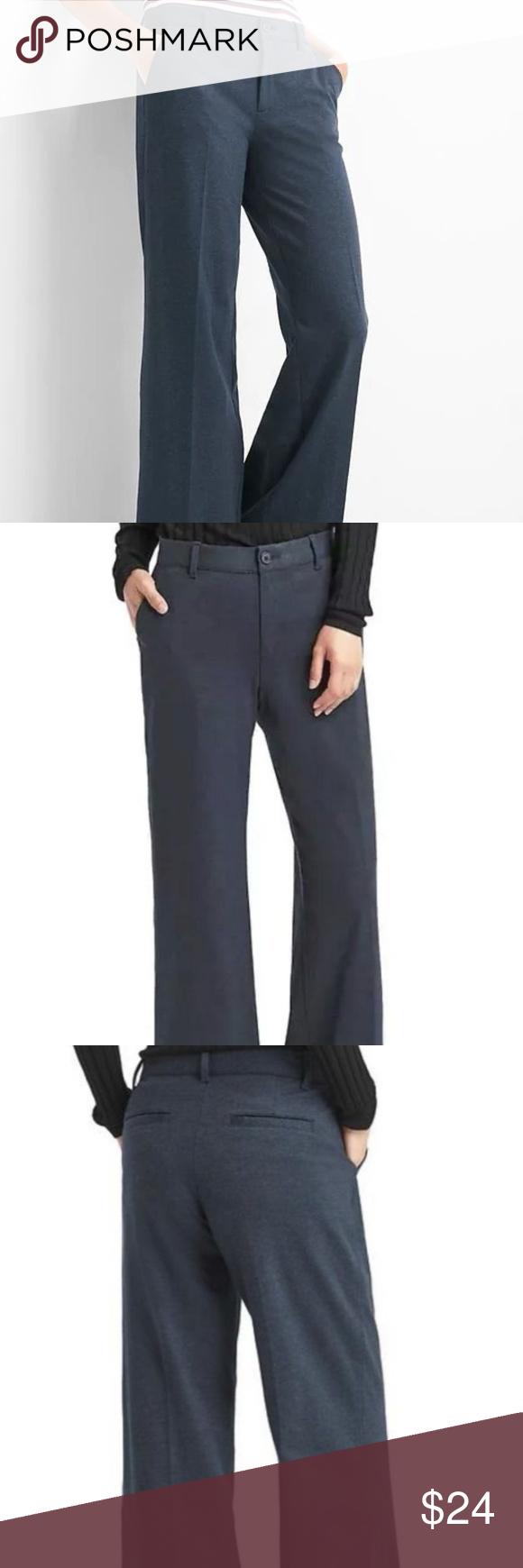 Gap Women/'s Navy Heather Wide-Leg Knit Pants Size 4 Tall