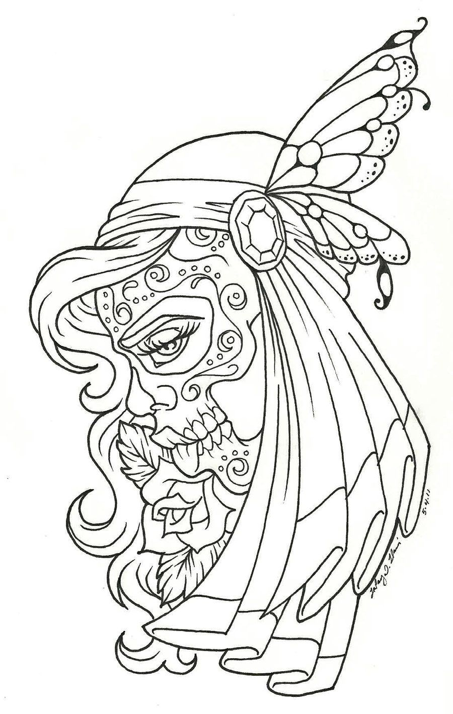 day of the dead children day of the dead coloring page coloring pages sugar skull tattoossugar - Sugar Skull Tattoo Coloring Pages