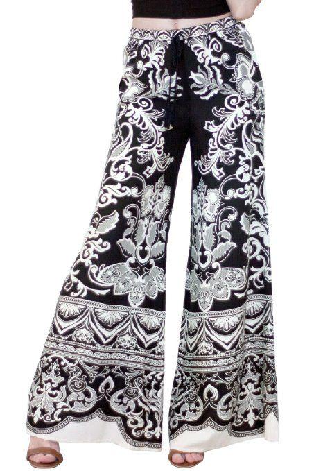 4310bf10e9e Amazon.com  Flying Tomato Women s Boho Print Palazzo Pants  Clothing ...