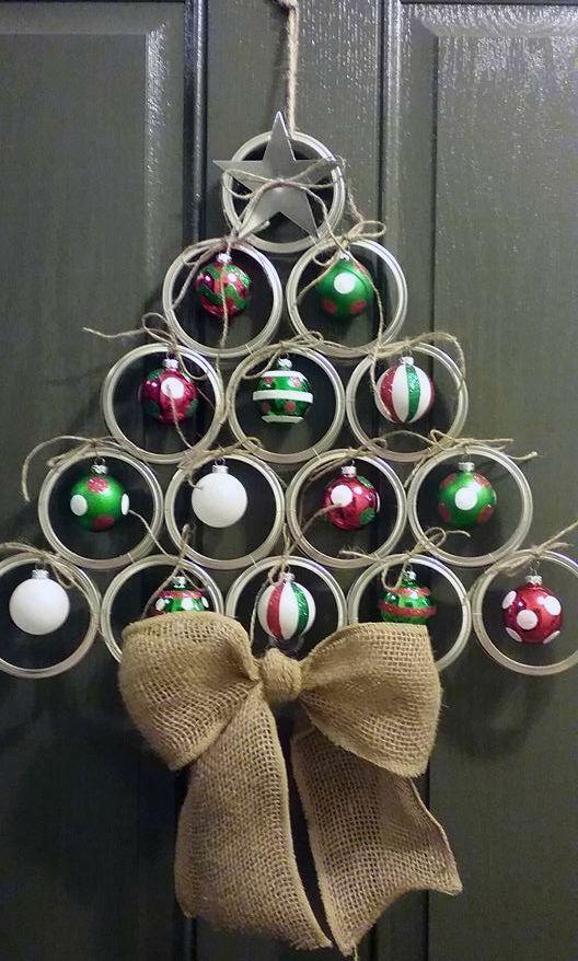 Canning/mason jar lid christmas tree door hangeradorable