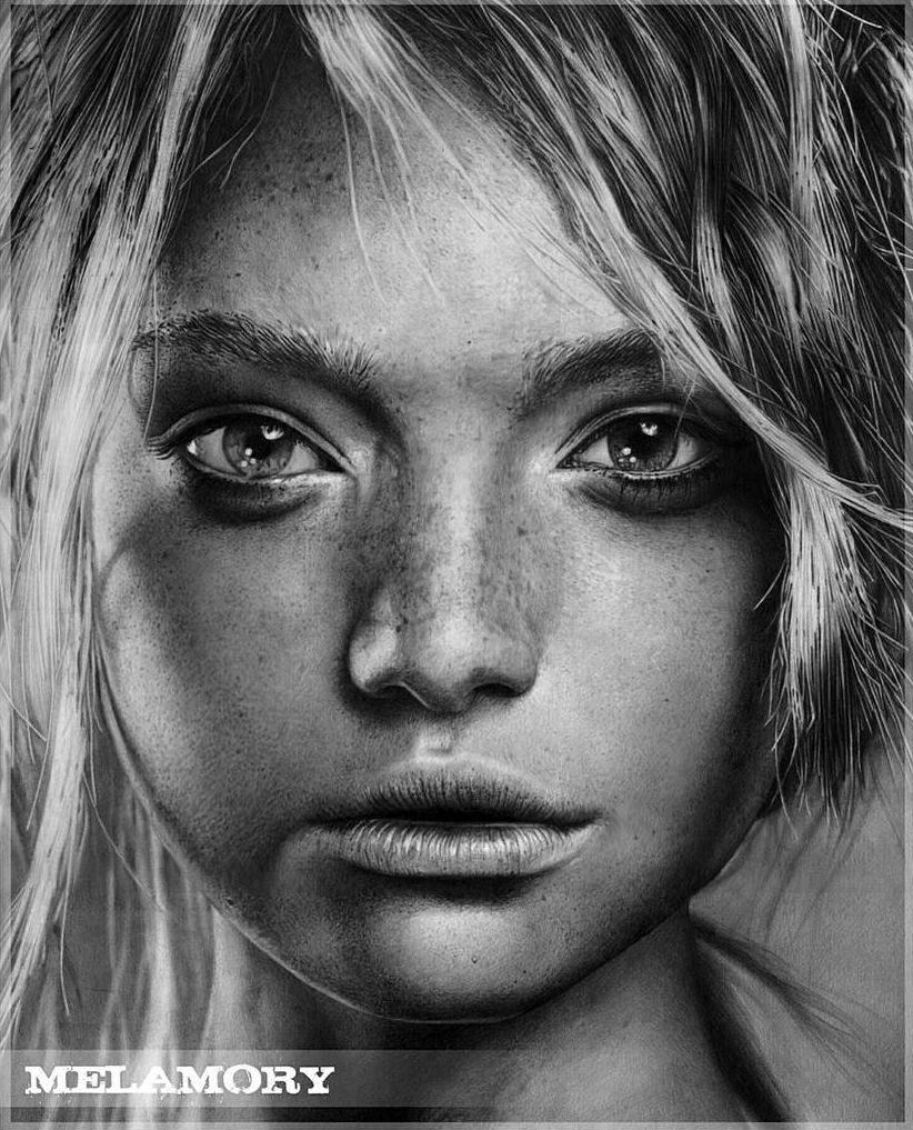 Realistic black and white drawing portraits of celebrities by olga larionova