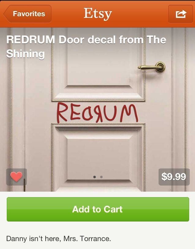 REDRUM Door decal from The Shining sold by Walking Dead Promotions. Shop more products from Walking Dead Promotions on Storenvy the home of independent ... & No horror bathroom is complete without this! | Horror themed ...