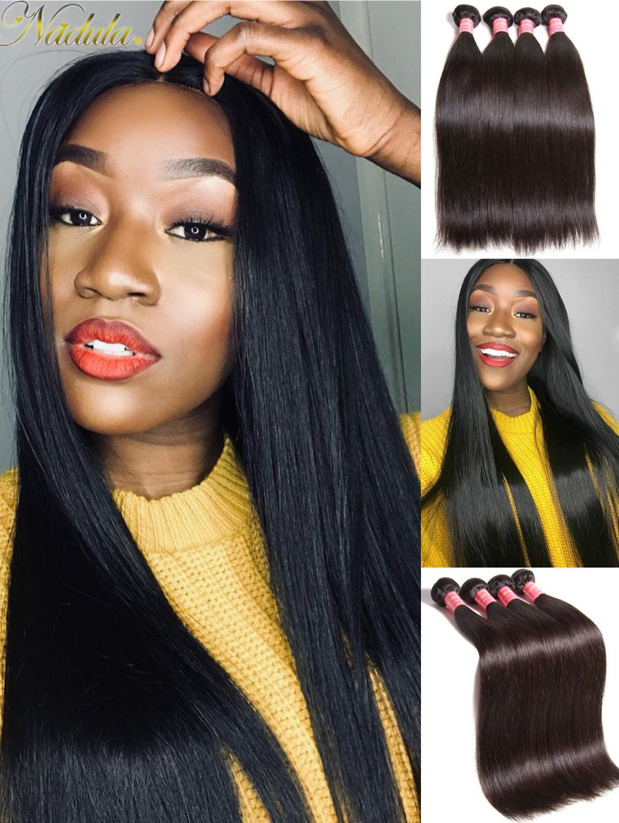 Nadula Soft Virgin Brazilian Straight Hair Weave 4 Bundles