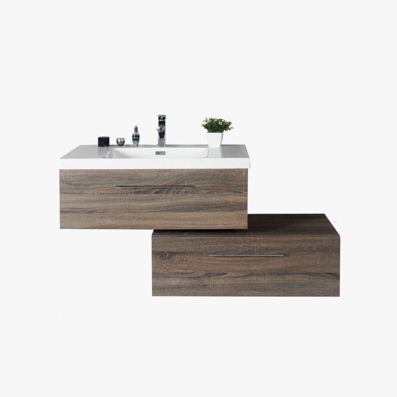 Aquasun meuble salle de bain deux tiroirs décalés gris