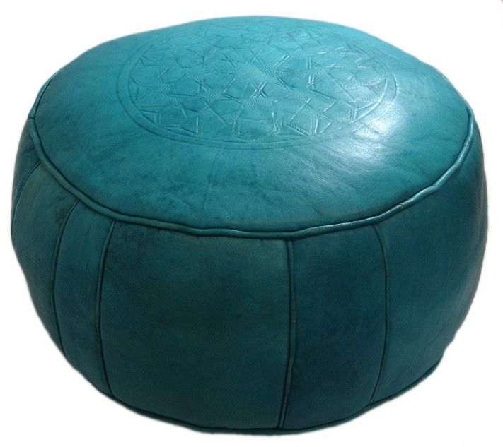 Turquoise Round Leather Ottoman   I Want That!   Pinterest   El ...