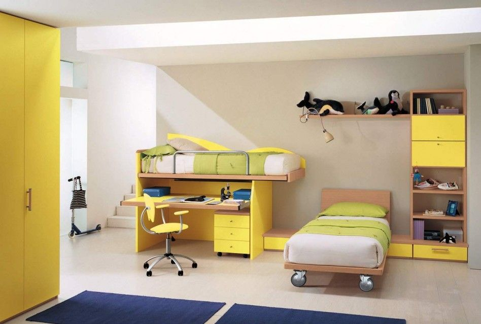 Yellow Theme Kid Bedroom Color Ideas Combined With Gray Wall Painted ...