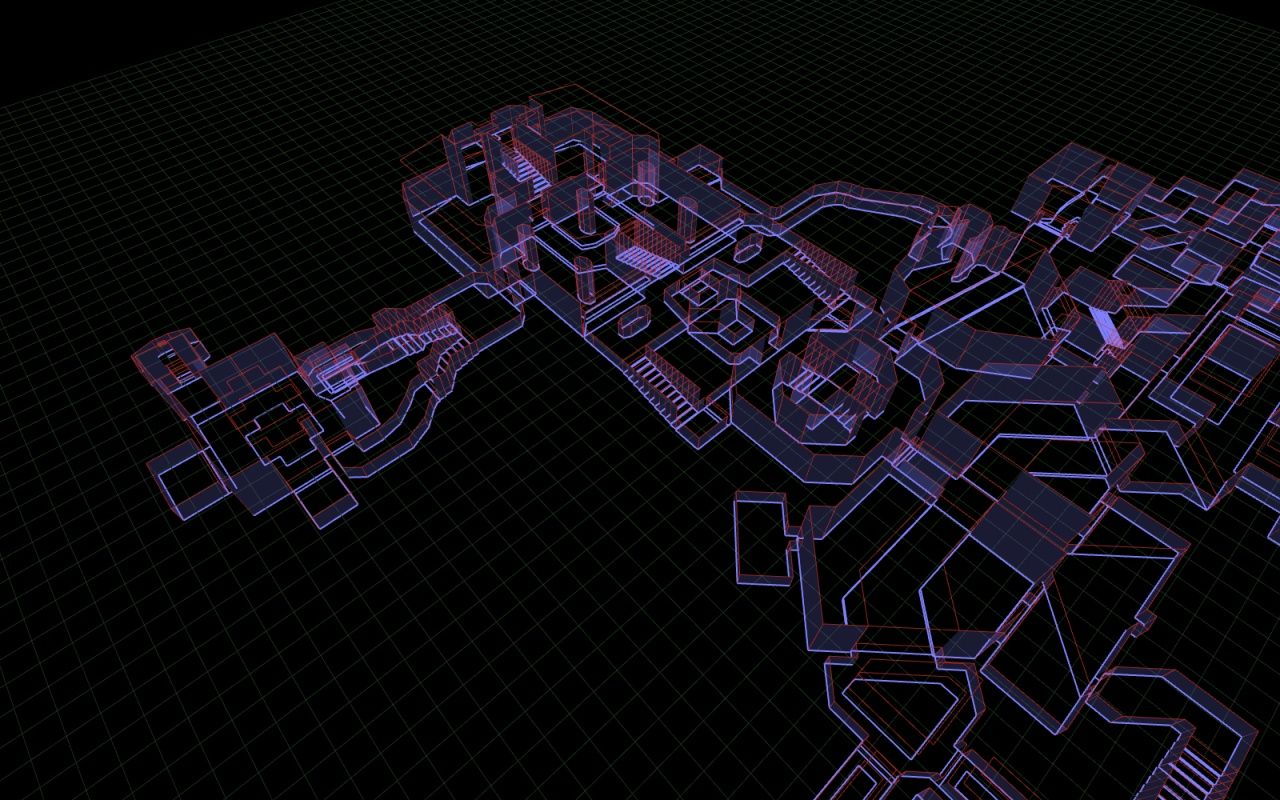 A custom engine render of the Doom map. Neon signs