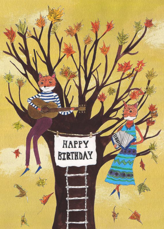Fantastic Mr Fox Happy Birthday Card Music Tree By Hutchcassidy