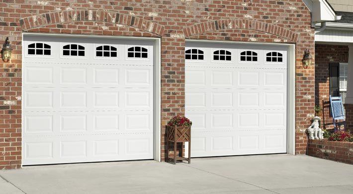 Traditional Short Panel With Cascade Windows In White Garage Door Design Traditional Doors Door Design