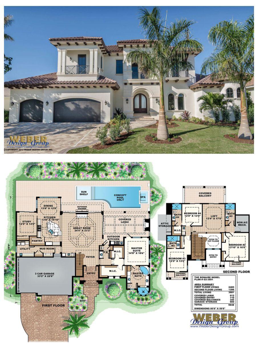 Photo of Mediterranean House Plan: 2 Story Coastal Mediterranean Floor Plan