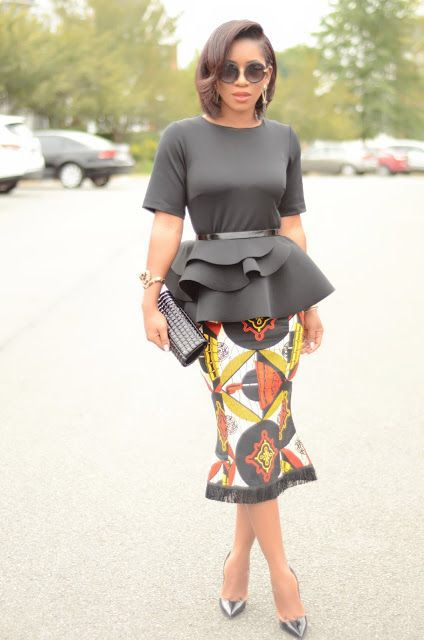 2df15588 Peplum Top & Ankara Skirt … | african fashion | Fashi…