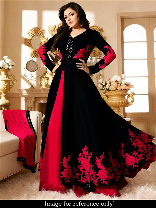 Buy Good Looking Black And Red Bhagalpuri Embroidery Work Indo