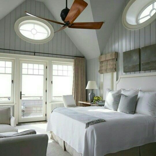 Beautiful Dark Wood Ceiling Fan In Soft Gray White Room Wood