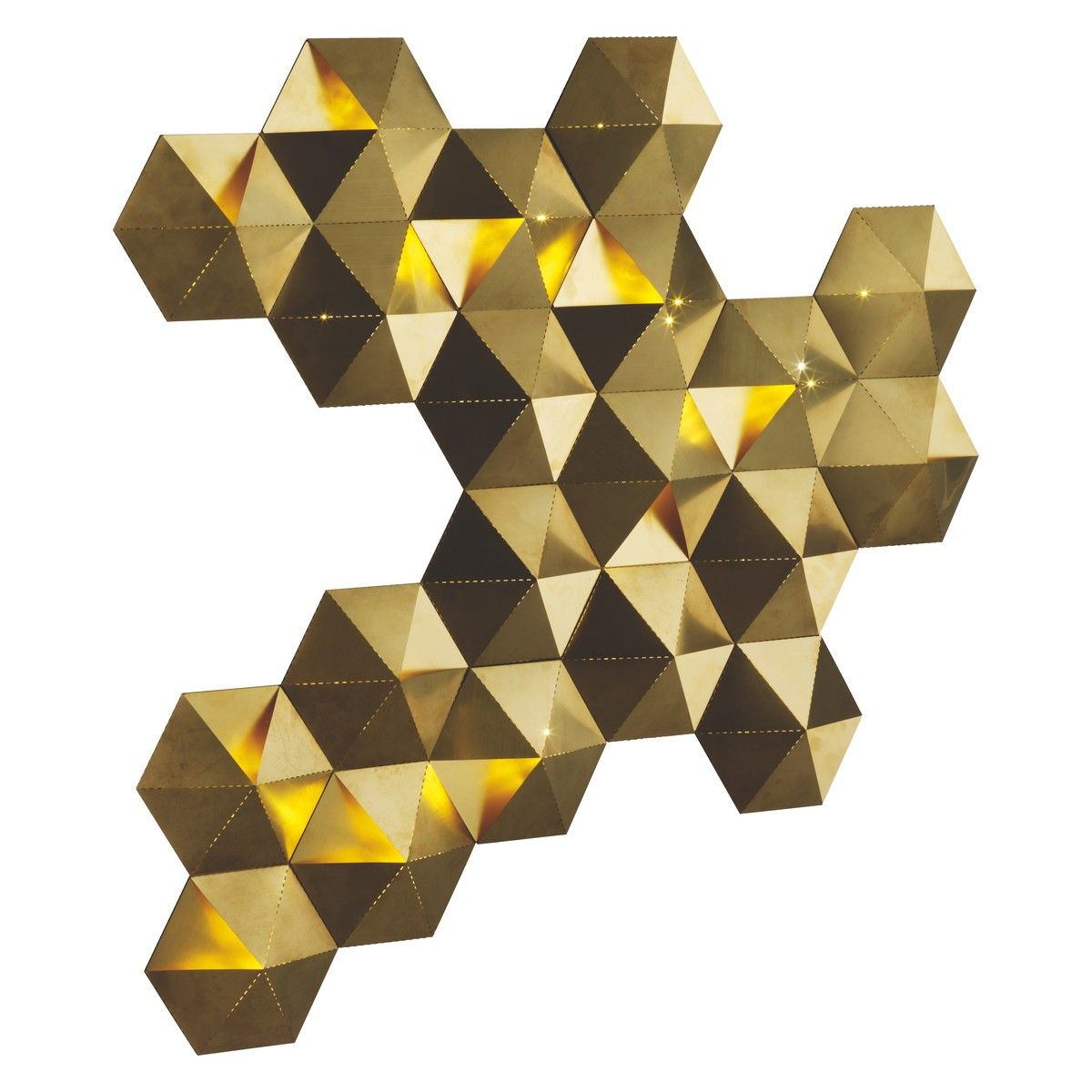 TESSELLATE Gold brushed metal LED decorative wall light ...