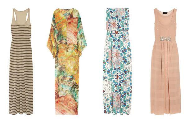 70s Party - What to wear - Striped MAxi Dress (DAY Birgen at Mikkelsen) - Chiffon Maxi Dress (Roberto Cavalli) - Abstract Print Maxi Dress (Tibi) - Belted MAxi Dress (Sonia Rykiel)