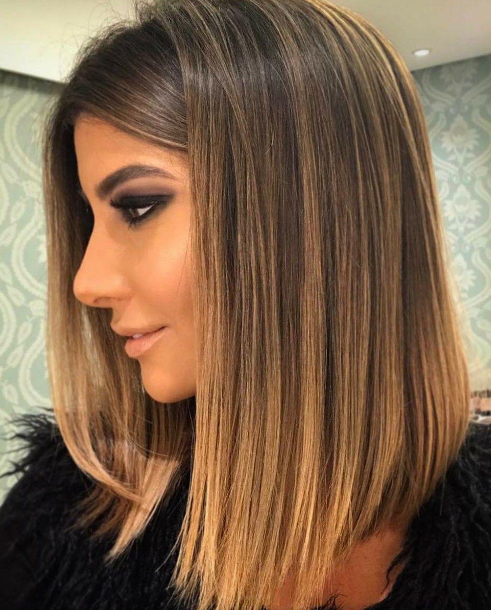 Long bob castanho iluminado balayage pinterest hair style