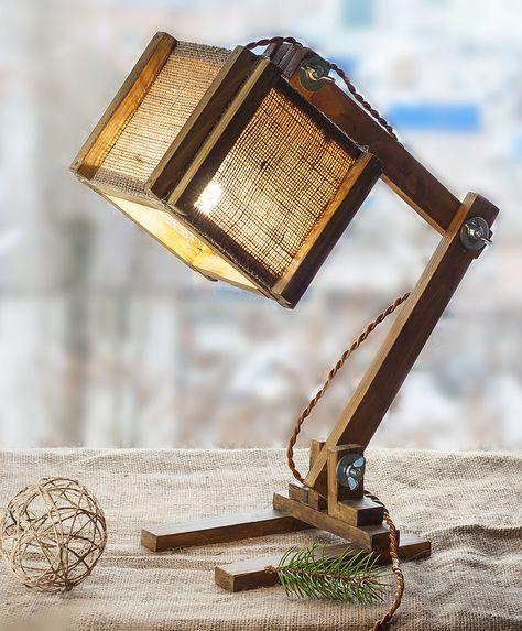 Burlap Table Lamp Wooden torchere Folding wood lamp Wood