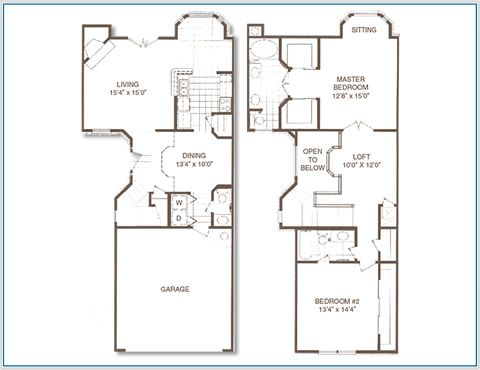 Good Rear Entry Townhouses Houston Tx 2 Bedroom Townhouse Apt Floor Plan At Plaza Del Oro Apartments Floor Plans How To Plan House Plans