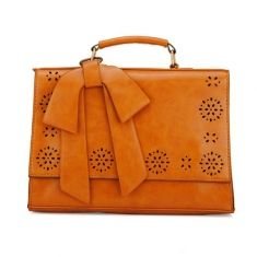 Women Bow Hollow Out Message Bag Handbag