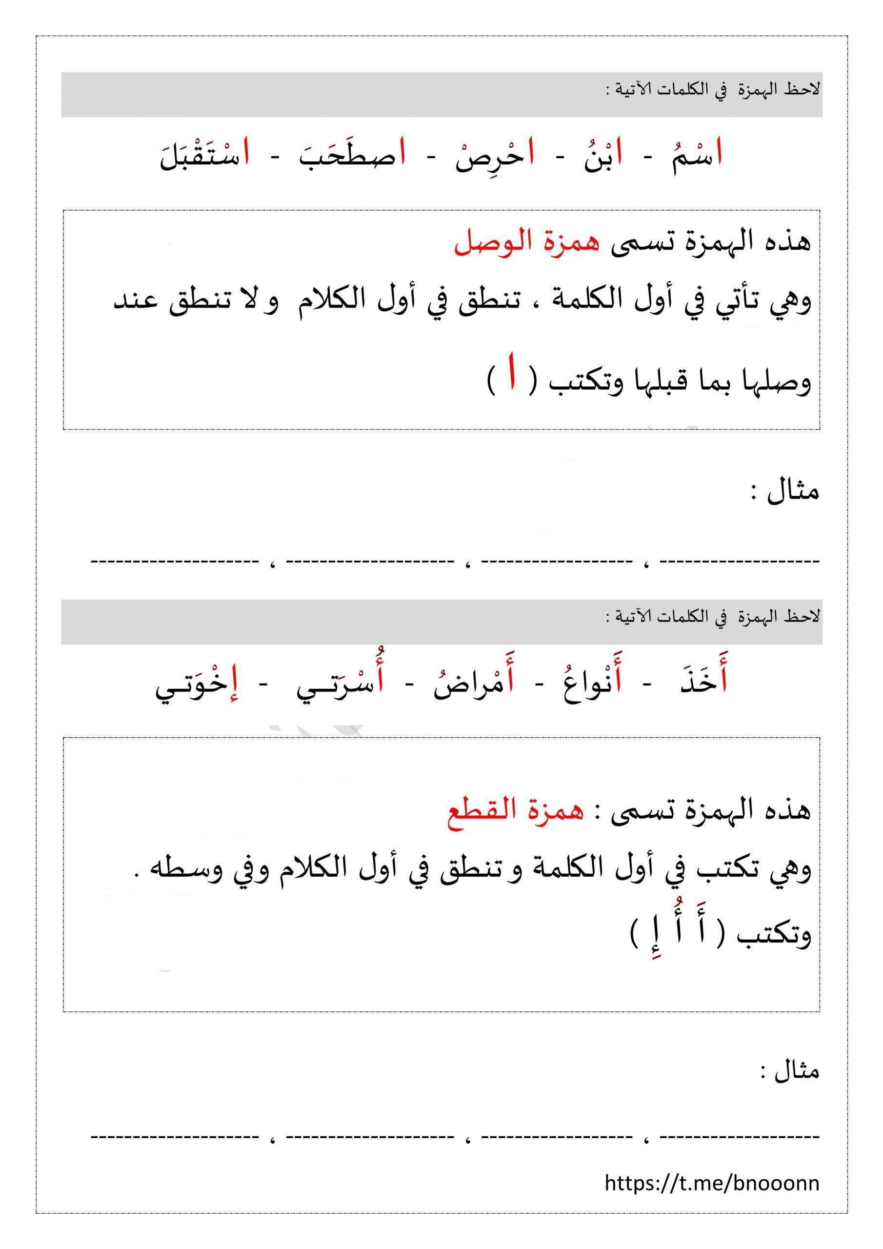 اوراق عمل همزة القطع وهمزة الوصل للصف الثالث مادة اللغة العربية Math Chart Math Equations