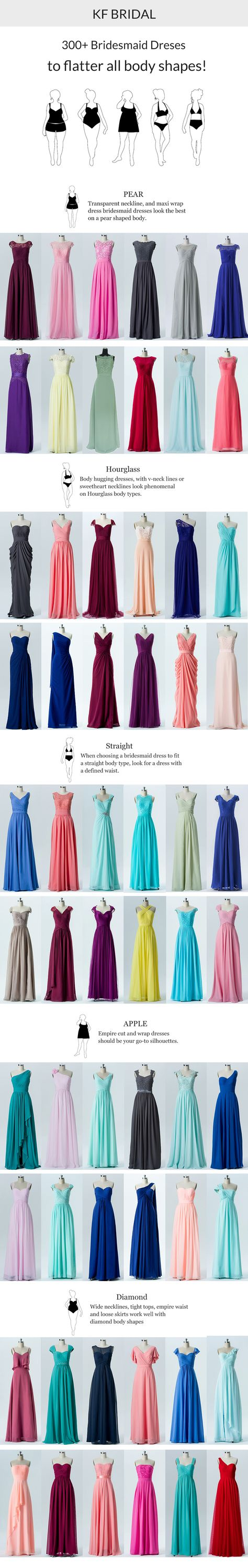 bridesmaid dresses to flatter all body shapes all come in