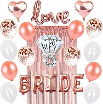 0a1a3994886f Amazon.com  Rose Gold Bachelorette Party Decorations  Bridal Shower  Complete Hen Night Getting Married Kit BRIDE Foil Balloon