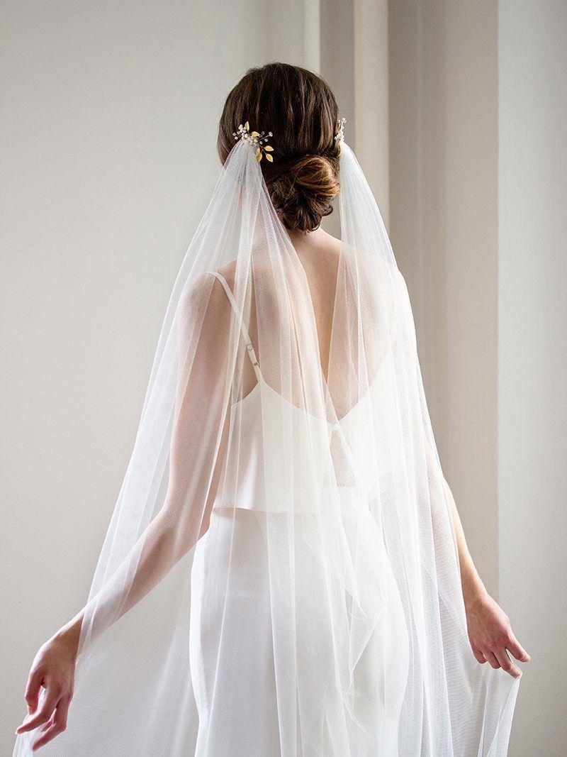 Bridal Veil Phoebe Draped Veil Bohemian Veil English Net Veil Cathedral Veil Boho Veil Veil with Hair Comb Draped Wedding Veil