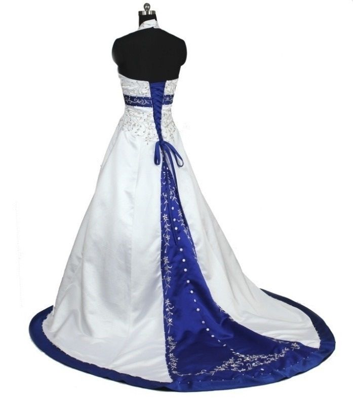 vestido de novia - vn37 (espalda) - blanco y azul francia.realizado