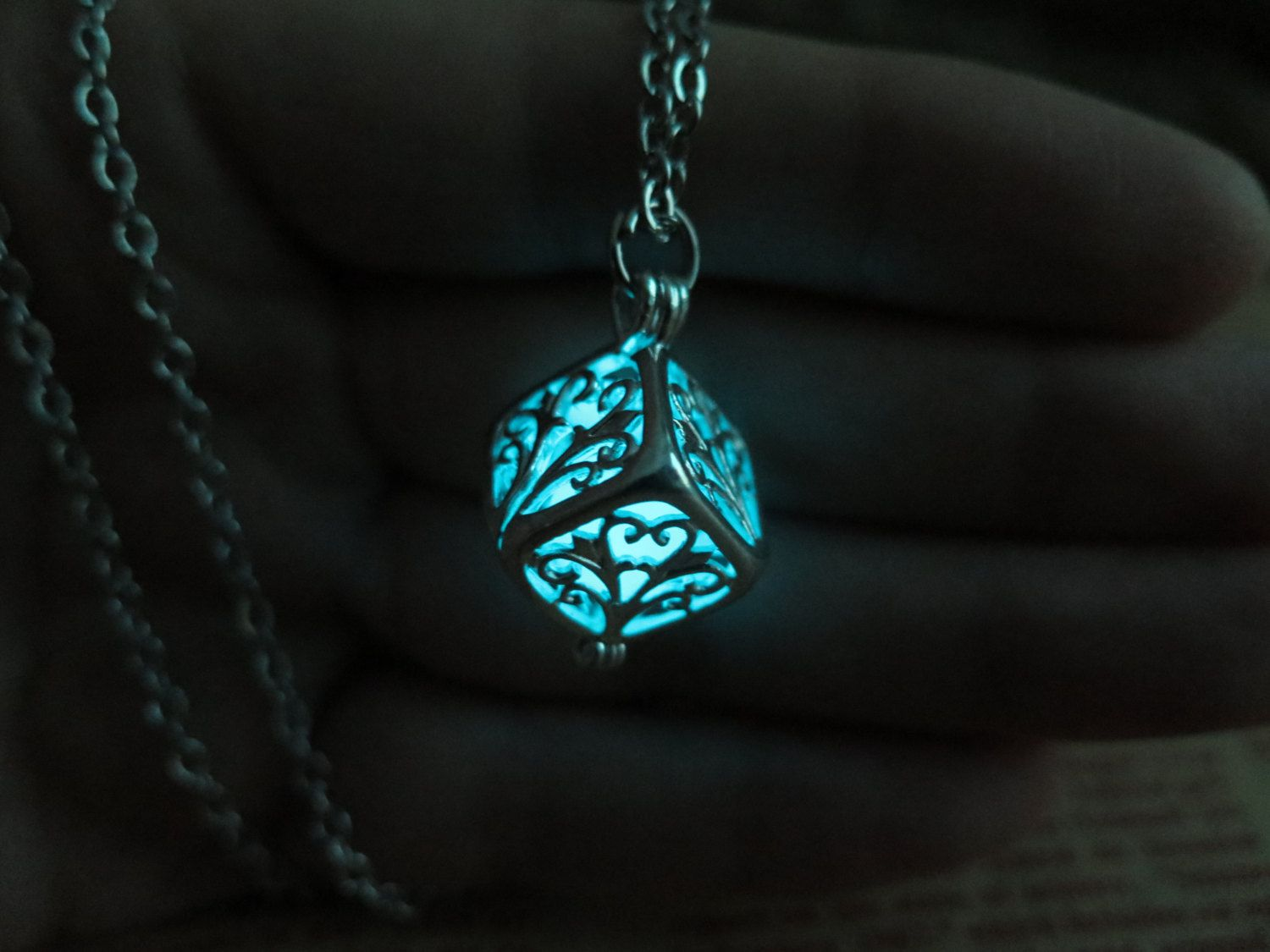 leaf glow blue in necklace jewelry dark gift the pin glowing teen