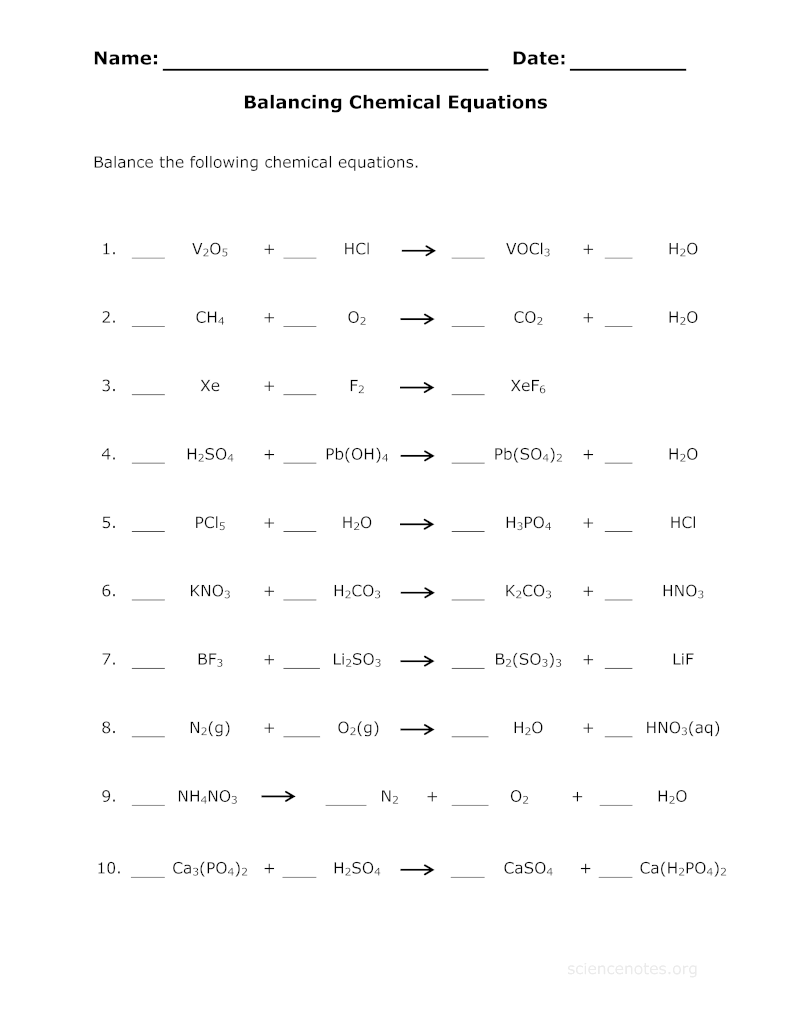 Writing Chemical Equations Worksheet - Free Worksheet