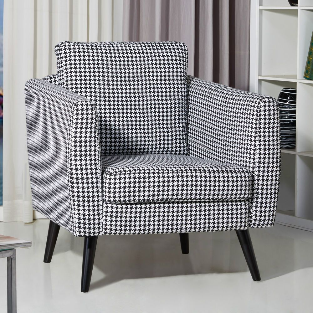 Black White Armchair Wooden Furniture Fabric Living Room Bedroom Urban Style Big