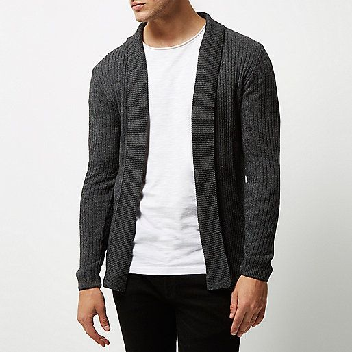 Dark grey ribbed muscle fit cardigan - cardigans - jumpers ...