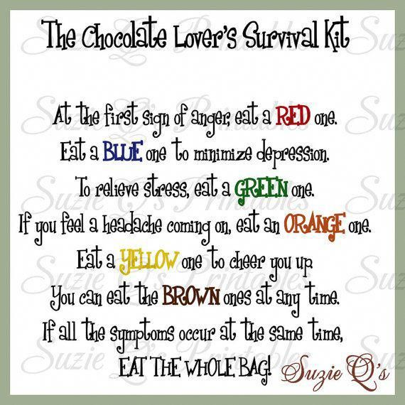 Chocolate Lovers Survival Kit includes Topper and Card – Digital Printable – Immediate Download