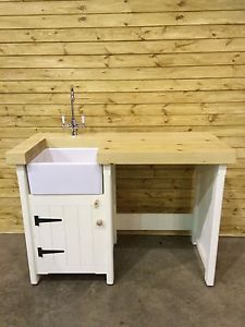 Amazing Pine Freestanding Kitchen Handmade Small Mini Baby Belfast Butler Sink Unit