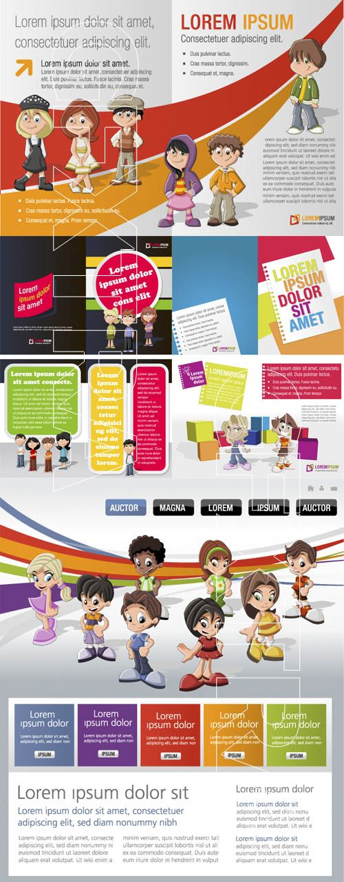 Colorful Brochure Template With Kids Illustrator Design