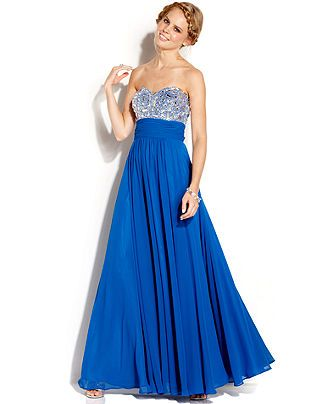 Blondie Nites Juniors' Strapless Rhinestone Gown - Juniors Prom Dresses - Macy's