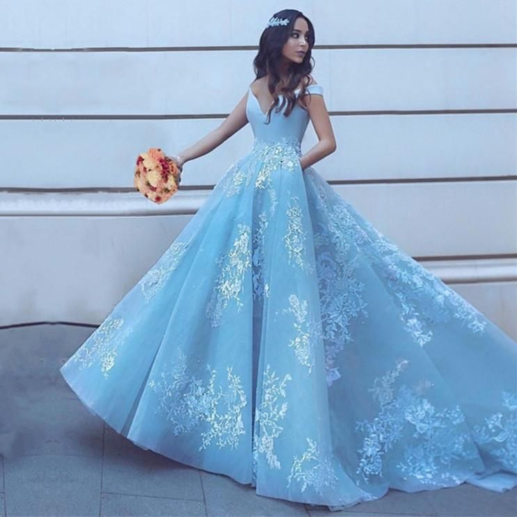 Light Blue Tulle Ball Gowns Prom Dresses Lace Appliques Off Shoulder ...