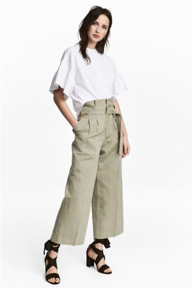 Pantaloni ampi con cintura - Kaki chiaro - DONNA | H&M IT. Wide  TrousersWide Leg ...