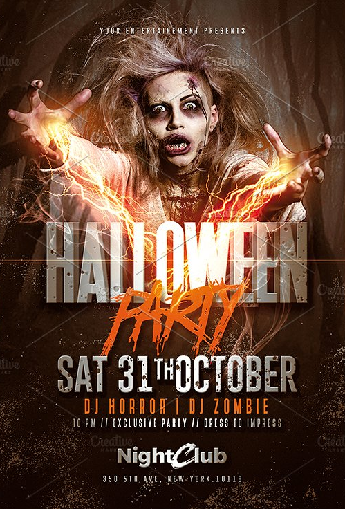 Halloween Party | Zombie Flyer | Flyer template, Creative flyers and ...