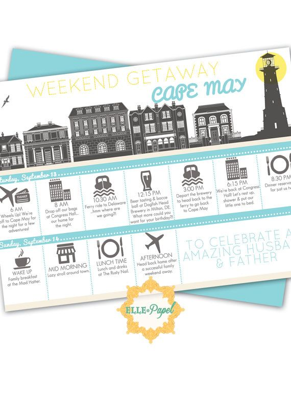 Printable Itinerary for a Weekend Getaway! Couples Getaway, Family