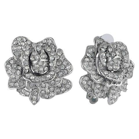 Women S Kenneth Jay Lane Rose Motif On Clip Earrings With Crystal Silver