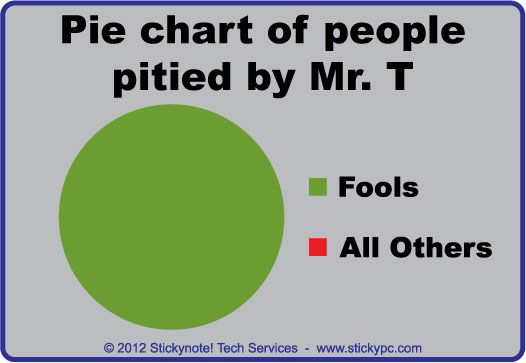 Pie Chart Of People Pitied By Mr T Funny Quotes Make Me Laugh Laugh Out Loud