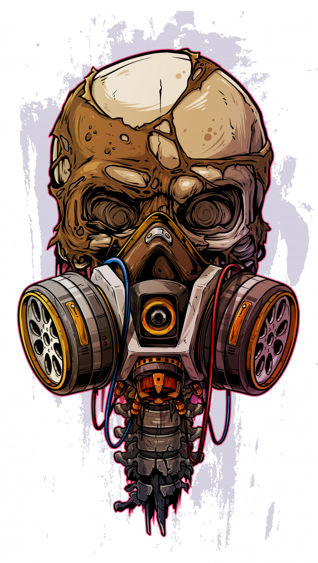 Detailed Colorful Human Skull With Gas Mask Gas Mask Art Skull Artwork Masks Art