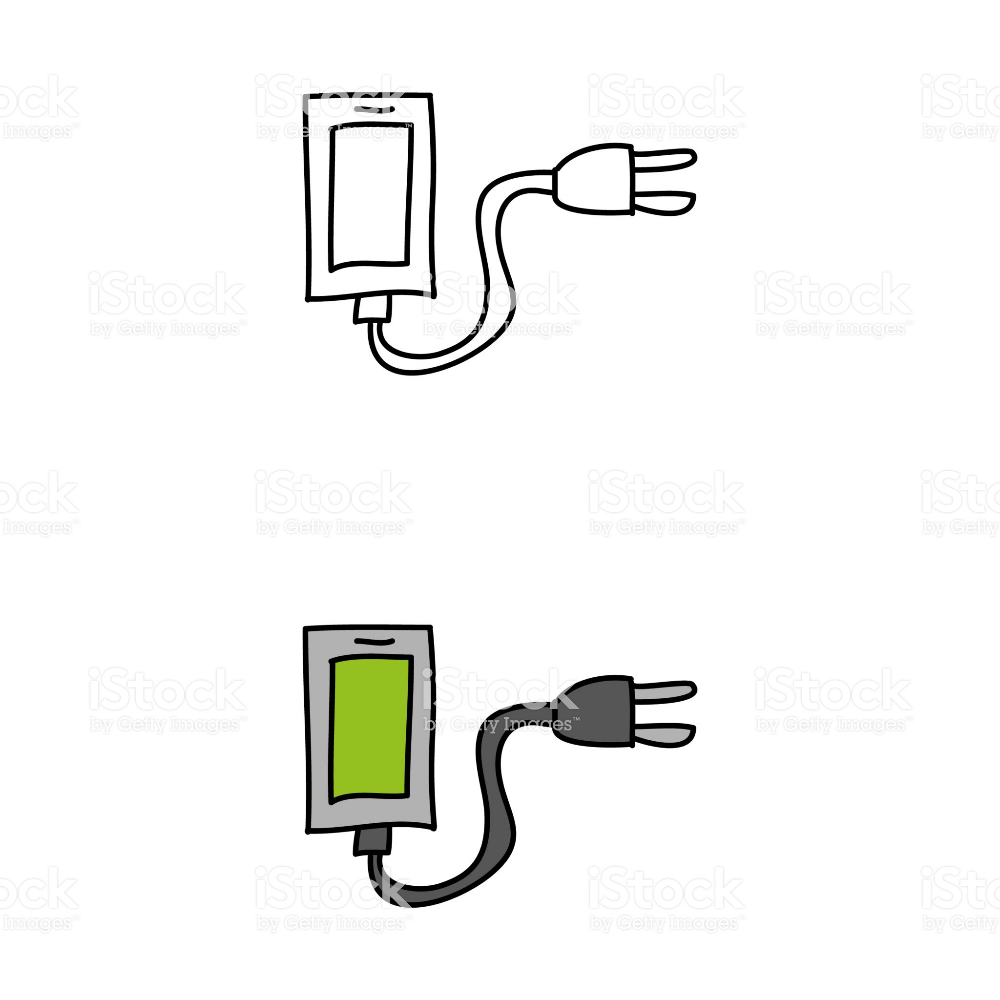 Cartoon Drawing Of A Mobile Phone With A Charger Free Vector Art Mobile Phone Vector Free