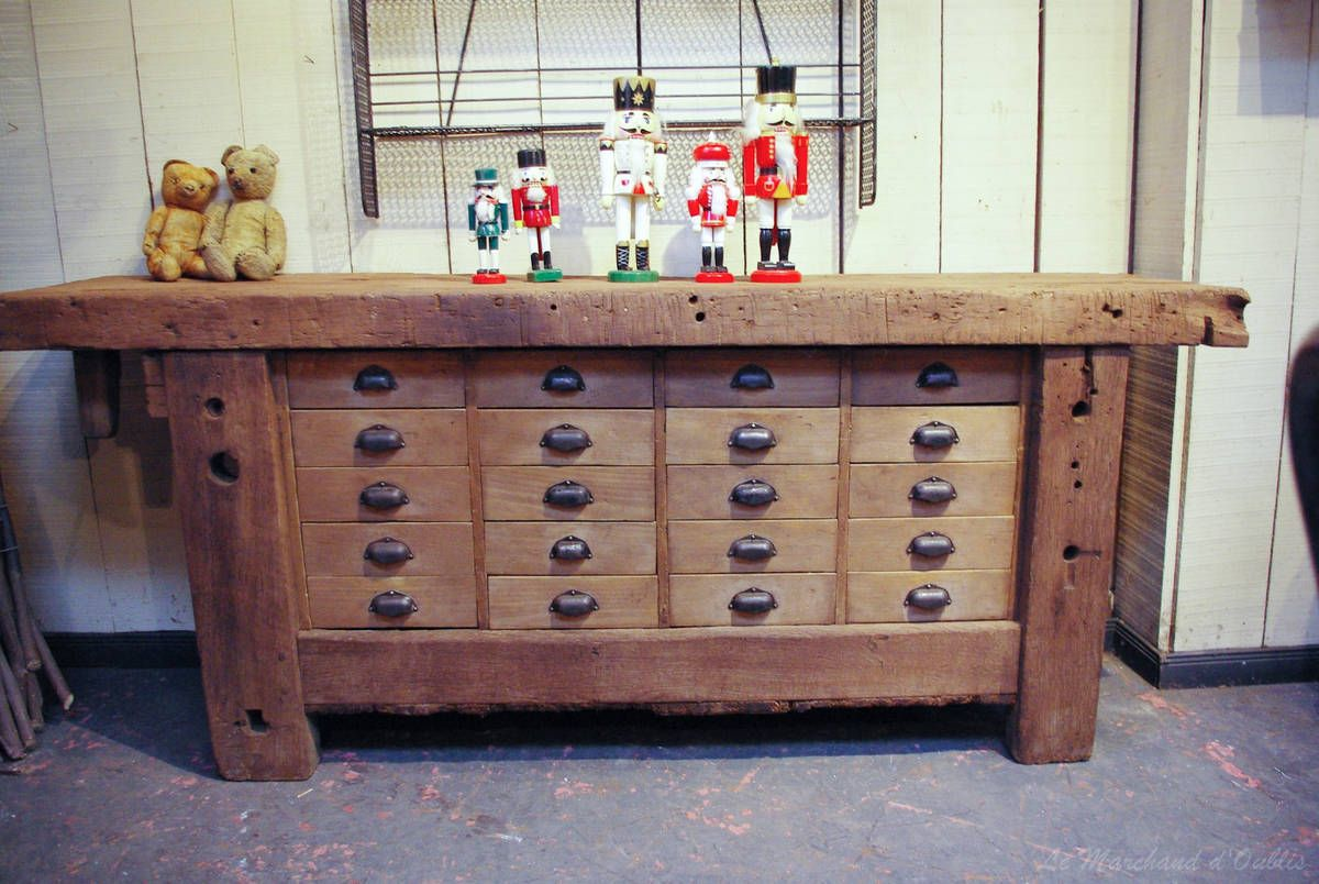 alte holzwerkbank mit schubladen | old wood furniture | pinterest