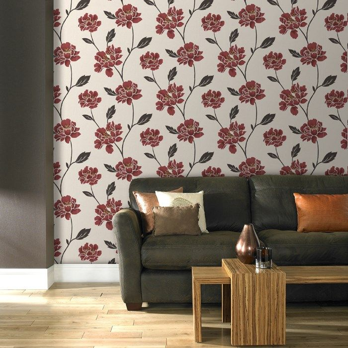 Peony Ruby Wallpaper by Graham and Brown Decor, Home
