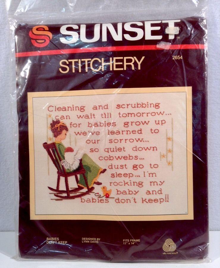 Sunset Stitchery Babies Don/'t Keep Embroidery Needlepoint Kit 11x14 New Sealed